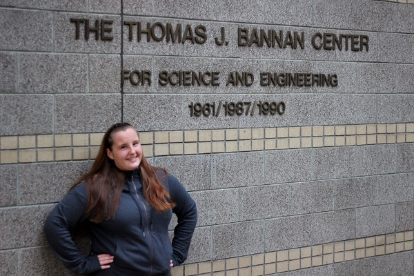 Desiree standing in front of Seattle University's Science and Engineering Building, where she is taking the majority of her classes this quarter.