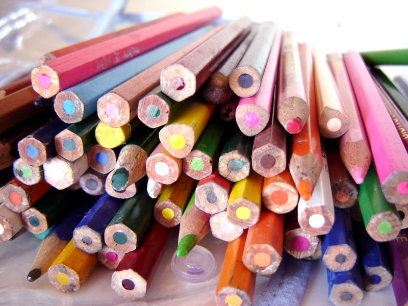 Colored Pencils in a Classroom