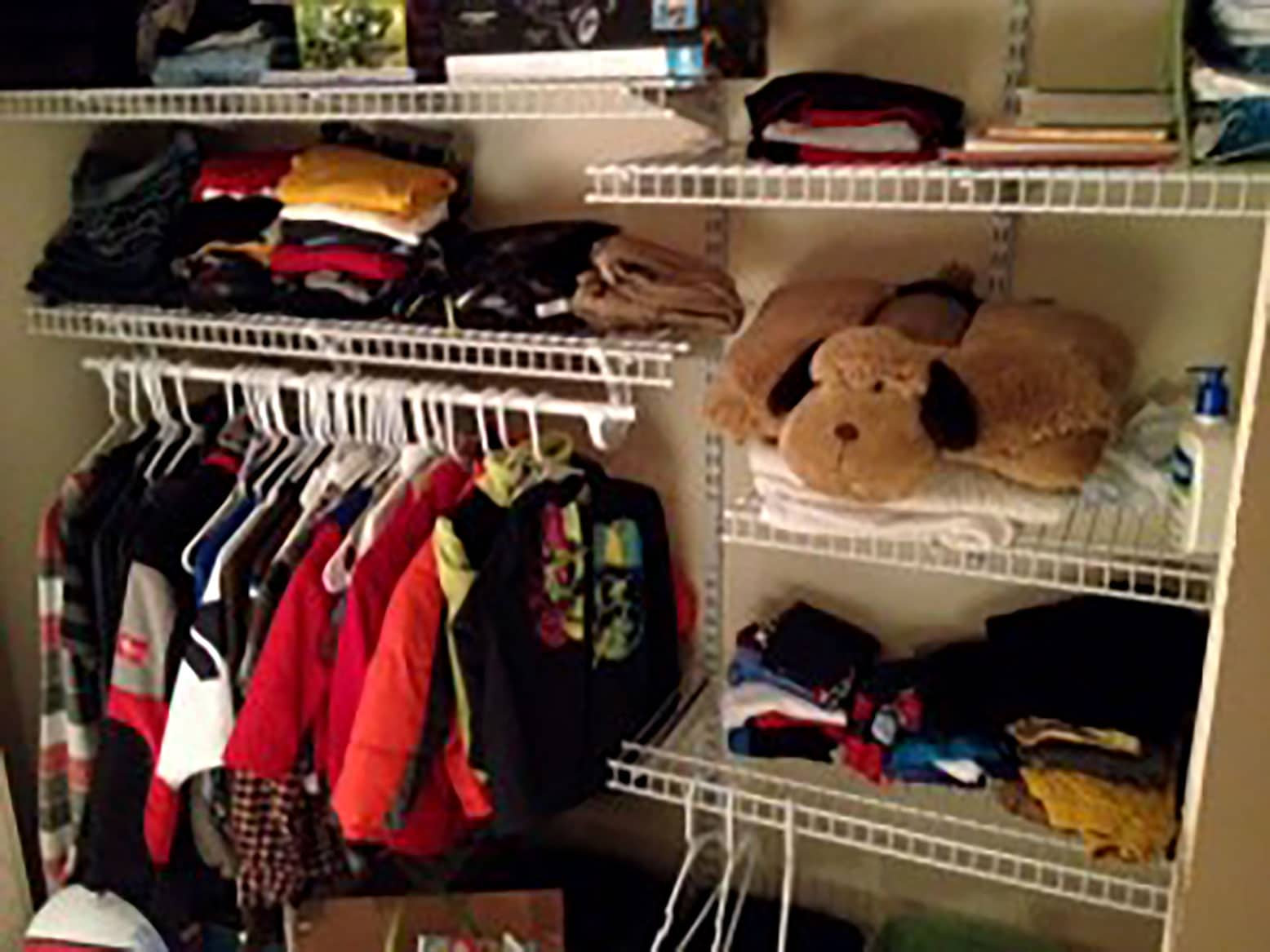 Our boys' closet, filled with clothing from the Wearhouse.