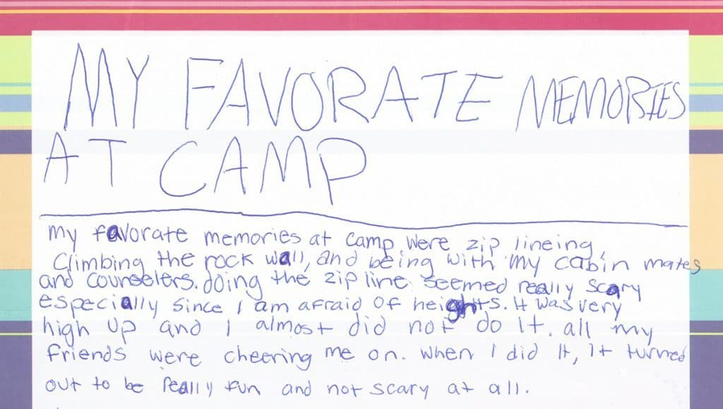 Camp Thank You Note #1