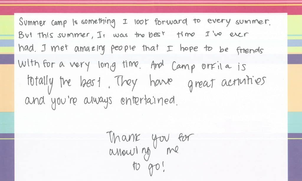 Camp Thank You Note #4